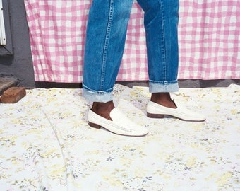 Men's Woven White Leather Loafers
