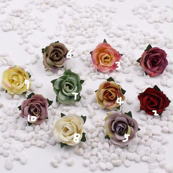 Silk rose heads mini flower heads fabric flower for Flower heads for crafts