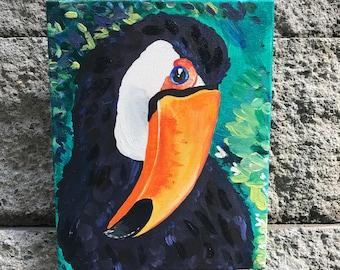 "toucan acrylic on canvas original    ""bashful toucan""     toucan art    toucan    tropical    bird    original    acrylic"