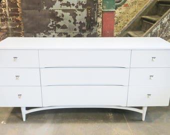 White Mid Century Dresser