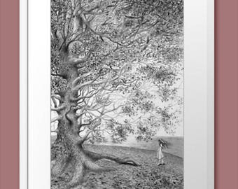 Pencil Drawing Illustration Fantasy Childhood Hand painted Grafics Homedecor Walldecor Original Traditionalart for home Tree Luxuryart