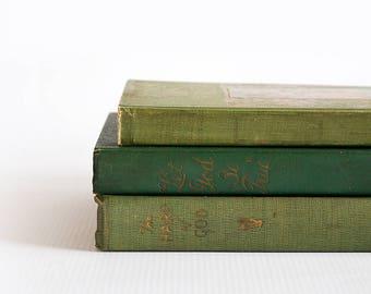 Vintage Antique Set of Three (3) Green Home Decor Religious Religion Books