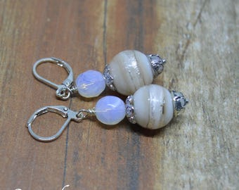 Cream and silver foil lampwork earrings with opalite beads