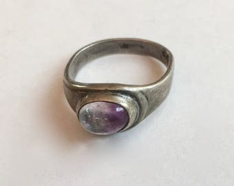 vintage sterling and amethyst ring, size 5.5