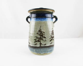 Winter Look - Evergreens - Mottled Navy Blue, Brown and Grey - Two Handled Container With Lid - Art Pottery - Studio Pottery