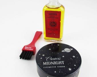 Vintage Typewriter Supplies - Red 'Smith-Corona' Brush - Empty 'Carter's Midnight Black' Ribbon Tin - 'Carter's Ideal Typewriter Oil (Full)'