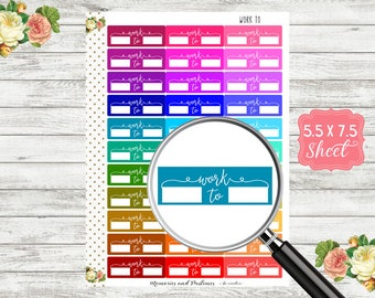Work To Planner Stickers - Work Schedule Stickers - Work Planner Stickers - Work Hours Stickers - Work Times Stickers - T112
