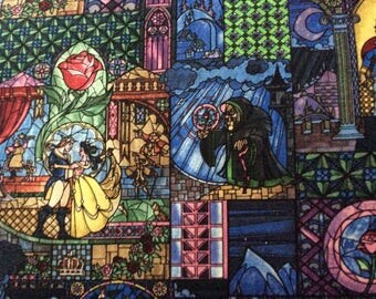 Disney Beauty & the Beast Stained Glass Fabric - Cotton Fabric Sold by the Yard