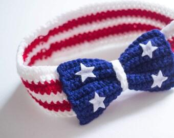 Stars and Stripes headband/ 4th of July headband/ girls headband/ 4th of july headband/ bow headband