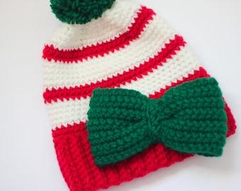 Girls Christmas Hat/ Bow hat/ Christmas Hat/ Girls winter hat/ Girls Hat/ Red hat/ Green Hat/ Crocheted Hat/