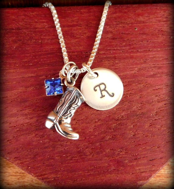 Sterling silver 3D cowgirl boot necklace, initial necklace, cowgirl necklace, western necklace,cowgirl jewelry