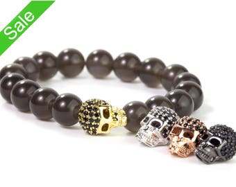 30% OFF, Black CZ Pave Skull Beads, Skull Head Beads,Skull Charms for Bracelet,Cubic Zirconia Pave on Copper,13x10x7mm,Pkg of 1 PC, B120.P01