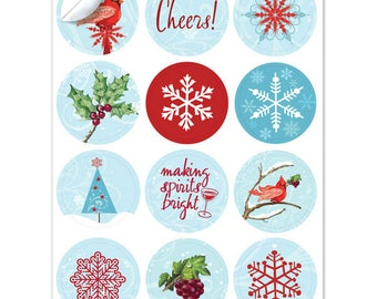 Holiday Winter Cardinal Wine Glass Decals, 1 Inch Round - Reusable - Glass Not included, 12 Per Pack
