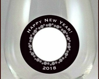 New Years Eve Wine Glass Decals Reusable, 2018 - 10 Pack - Glass Not included