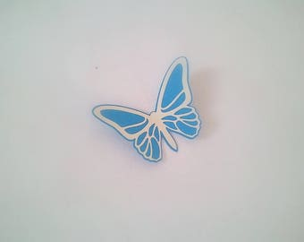 """Small """"The Butterfly"""" blue and ecru"""