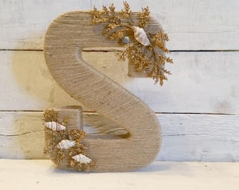Custom Wrapped Letter | Jute Wrapped Letters | Coastal Decor | Wedding Decor | Wall Letters | Room Letters | Custom Letters