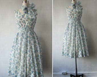 30% Off Flash Sale 1950s floral dress | vintage 50s floral dress | 1950s fit and flare dress | chiffon dress | 1950s party dress | Greta's G