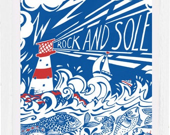Rock and Sole -Art print, signed by the artist Kate Cooke, mounted