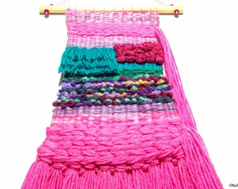 Woven Wall Hanging, Hot Pink, Turquoise, Rainbow Coloured, Bright Weaving, Weaving, Weaving Wall Hanging, Bright Home Decor, Bright Wall Art