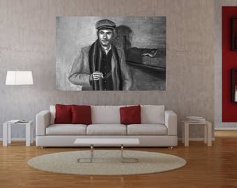Large Black and White Wall Art,Man Portrait Painting,wall art,large,black and white,Room decor,print,canvas,oil painting art,living room,art