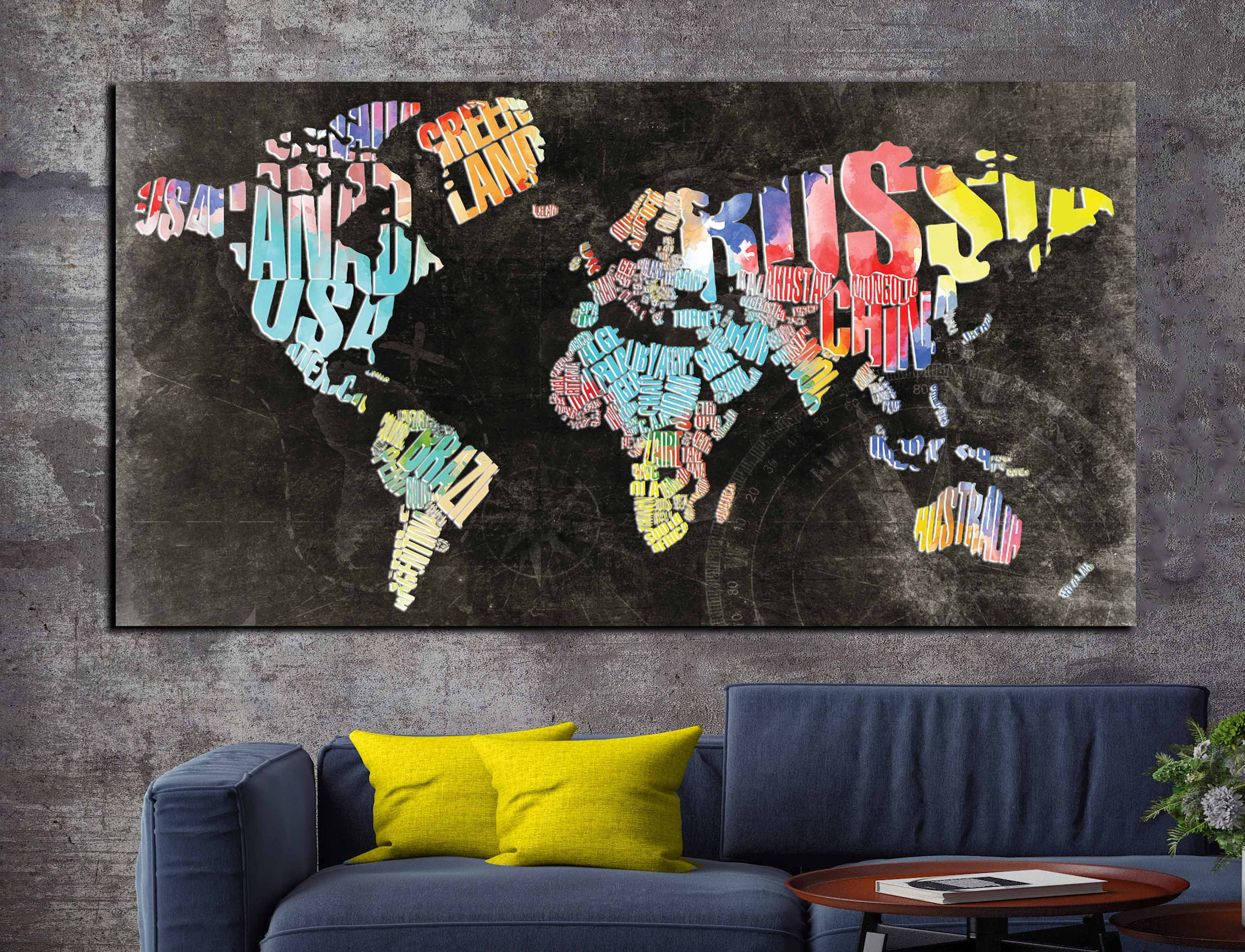 Typographic world text mapworld map abstract wall art canvas canvas printworld map office gallery photo gallery photo gallery photo gallery photo gumiabroncs Images
