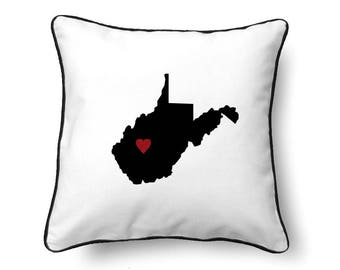 West Virginia Pillow - West Virginia Gift - West Virginia Map - WV State Map