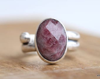 Natural Pink Tourmaline Ring. Tourmaline Statement Ring. Sterling Silver Ring. Oval Tourmaline Ring. October Birthstone