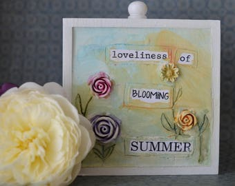 Miniature painting, flowers, floral, mixed media, summer, birthday gift, gift for housewarming, wedding present, picture, home decor, bright