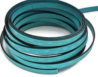"""10MM Floral Loop Embossed Leather Cord - Turquoise/Black - High Quality Leather Cord - Qty. 2ft/24"""""""
