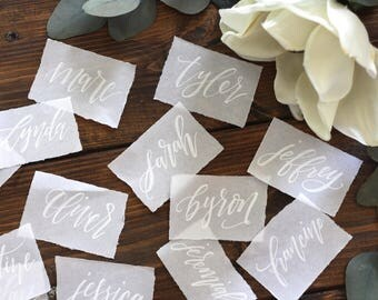 Calligraphy Vellum Place Cards, Wedding Place Cards, Wedding Escort Cards, Flat Cards, Hand Lettered, Modern Weddings, Vintage Weddings