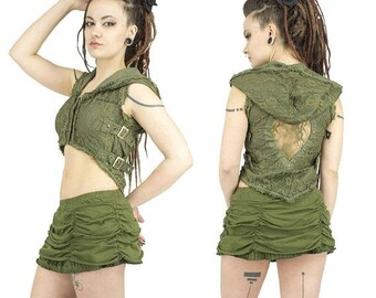 PROMOS Steampunk khaki green lace hooded vest with belt on sides, gypsy, tribal fusion, festival, trance, burlesque, cabaret, saloon, pixie,