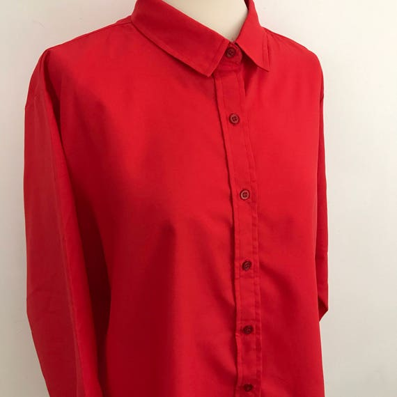Vintage shirt red blouse 1980s scarlet shirt fitted UK 24 Mom style 80s top plus size vintage Mod Nu Wave