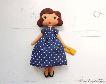 Delia, handmade felt 50s Doll