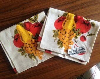 Two New Vintage Linen Dish Towels