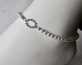 Summer Sale Anklet in White Swarovski Pearl and Swarovski Crystal AB link, Ankle Bracelet, Pretty, Dainty Womans Gift, Plus size available
