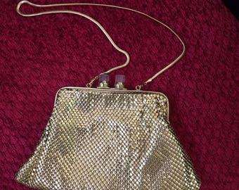 Julius Garfinkle Gold Mesh and Lucite Evening Bag