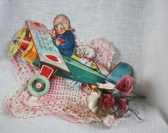 Vintage 1930s Valentine Germany Mechanical Die Cut Boy in Airplane