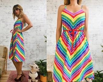 20% OFF FLASH SALE Vintage 1970's Rainbow Chevron Striped Cotton Summer Dress || Size Medium