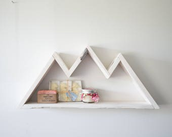 Painted Mountain Shelf, Custom Storage, Mountain Decor, Bedroom Wall Art, Kids Decor, Nursery Wall Decor, Wooden Shelf, Bedroom Wall Art