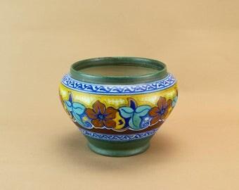 Gouda Pottery Vase Jar Green Floral Design Dutch Vintage Mid 20th C