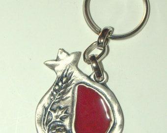 Judaica Keyring Keychain Key Holder Pomegranate Seven Species Red Enamel Israel