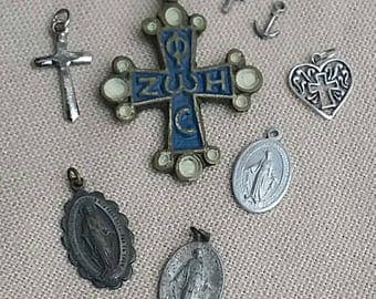 Group of Religious Charms/Pendants St Christophers Crosses