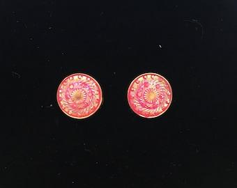 12mm Spiral Hot Pink Stud Earrings