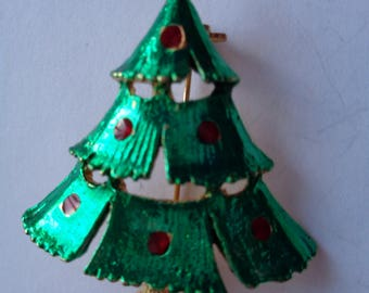 Vintage Unsigned Green/Goldtone Christmas Tree Brooch/Pin
