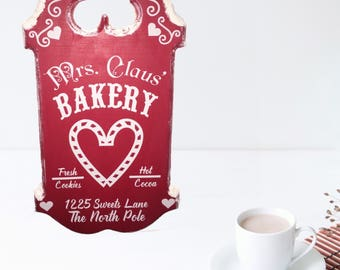 Ready to Ship ~ Mrs. Claus Bakery, Christmas Sign, cookies, North Pole, Snow covered, wooden sign, wall hanging