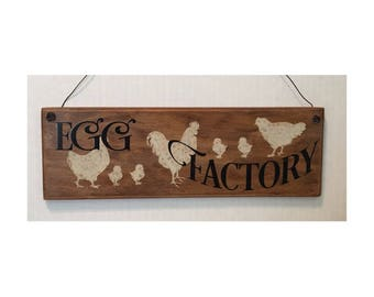 Ready To Ship - Egg Factory, Chicken Coop Sign Hen House Sign Kitchen Sign Wood Sign Roosters and Hens