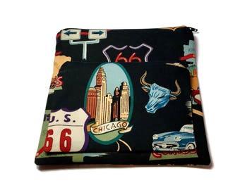 Sandwich Snack Bags set of 2 Zipper Route 66 Black Alexander Henry