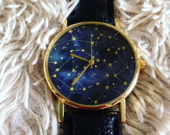 Stars & Constellations Watch in Black and Blue
