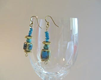 Blue Greek Ceramic Cube Dangle Earrings, with Ocean Blue Apatite Chips, Turquoise Magnesite and wavy gold spacers on Gold Filled Ear Wires