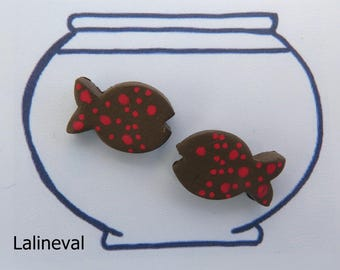 Earrings mini Brown ceramic fish with red polka dots